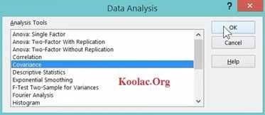 کواریانس و Correlation با افزونه Data Analysis در اکسل + فیلم