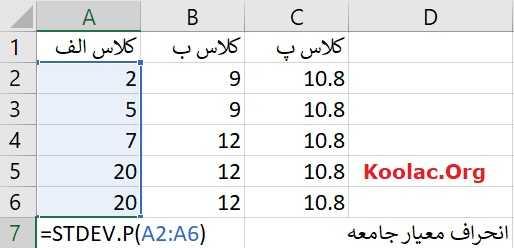 آموزش محاسبه انحراف معیار و واریانس در نرم افزار اکسل (Excel)